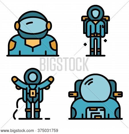 Astronaut Icons Set. Outline Set Of Astronaut Vector Icons Thin Line Color Flat On White