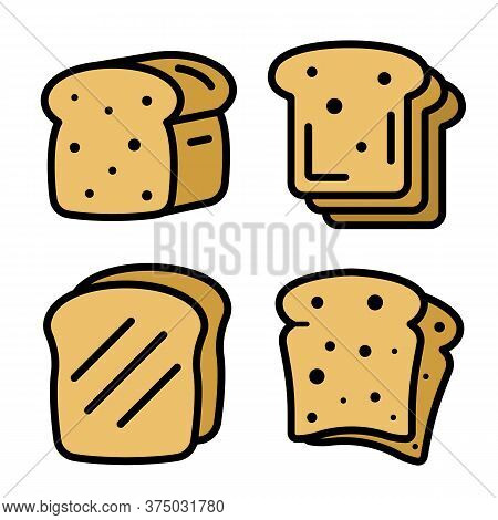 Toast Icons Set. Outline Set Of Toast Vector Icons Thin Line Color Flat On White