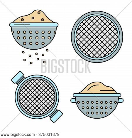 Sieve Icons Set. Outline Set Of Sieve Vector Icons Thin Line Color Flat On White