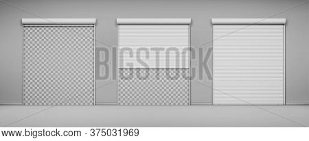 Garage Doors, Hangar Entrances With Roller Shutters. Warehouse Exterior With Close And Open Boxes, R