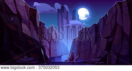 Mountain River In Canyon At Night. Vector Cartoon Landscape Of Nature Park, Water Stream In Gorge Wi