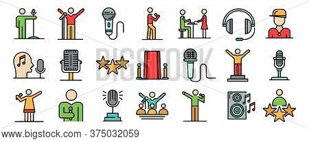 Singer Icons Set. Outline Set Of Singer Vector Icons Thin Line Color Flat On White