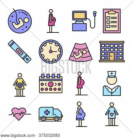 Pregnant Icons Set. Outline Set Of Pregnant Vector Icons Thin Line Color Flat On White