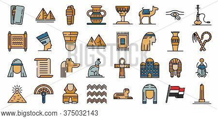 Egypt Icons Set. Outline Set Of Egypt Vector Icons Thin Line Color Flat On White