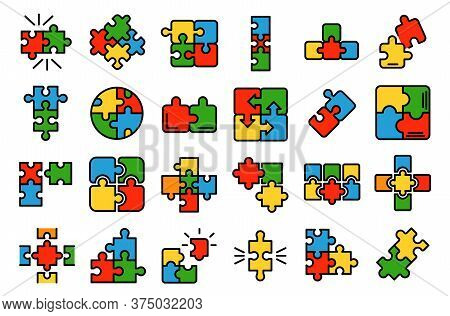 Jigsaw Icons Set. Outline Set Of Jigsaw Vector Icons Thin Line Color Flat On White