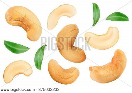 Roasted Cashew Nuts Isolated On White Background. Top View. Flat Lay