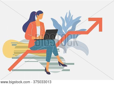 Yong Woman Sitting Cross Legged And Working On Red Arrow Ladder To Success And Progress, Vector Illu