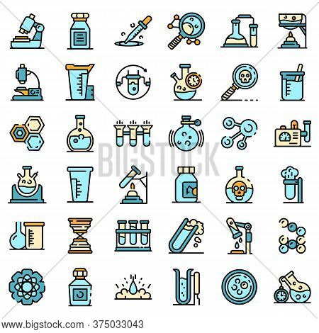 Chemical Laboratory Experiment Icons Set. Outline Set Of Chemical Laboratory Experiment Vector Icons