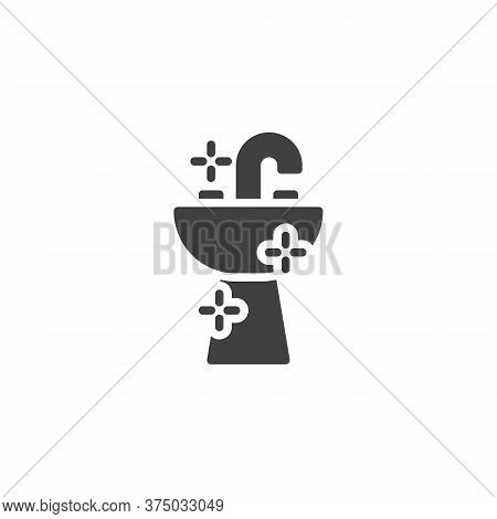 Bathroom Sink Vector Icon. Filled Flat Sign For Mobile Concept And Web Design. Washbasin And Water T