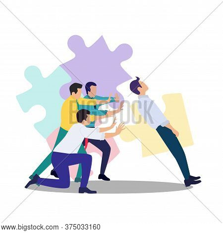 Vector Illustration Of The Concept Of Confidence In Your Team Among Businessmen.support For A Fallin