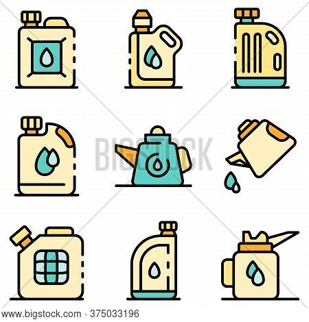 Motor Oil Icons Set. Outline Set Of Motor Oil Vector Icons Thin Line Color Flat On White