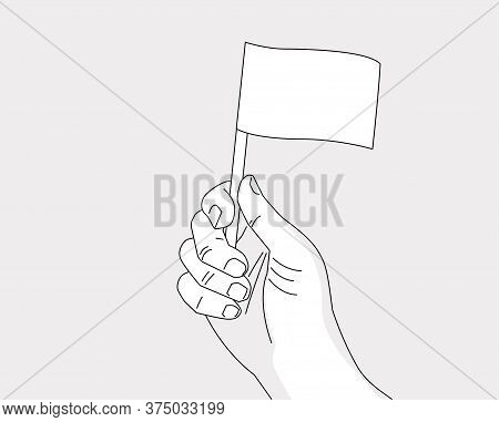 Hand Holding Flag - Vector Line Art Drawing Template Of A Hand With A Flag - No Color, Place Your Fl
