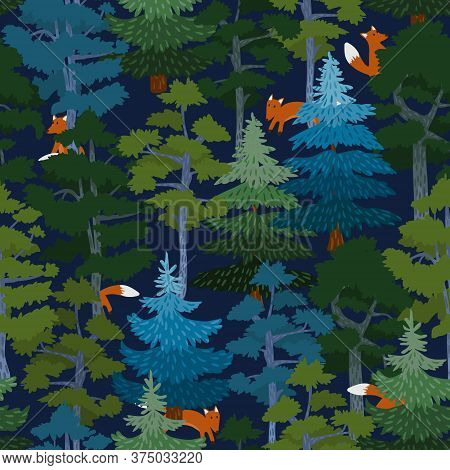 Red Fox And Coniferous Forest Seamless Pattern. Stylized Pine, Spruce And Foxes On A Dark Blue Backg