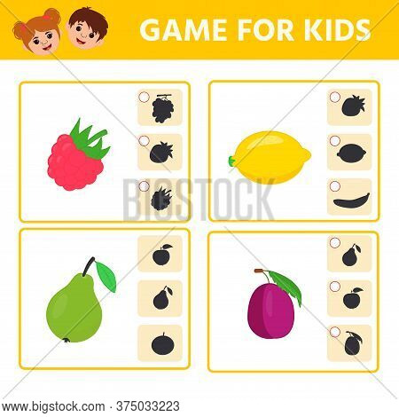 Educational Worksheet For Children. Game For Kids. Find Matching Item And Shadow. Worksheet For Kids