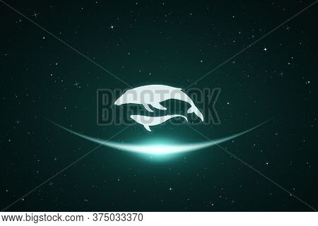 Whale Family In Space. Vector Conceptual Illustration With White Silhouettes Of Endangered Animals A