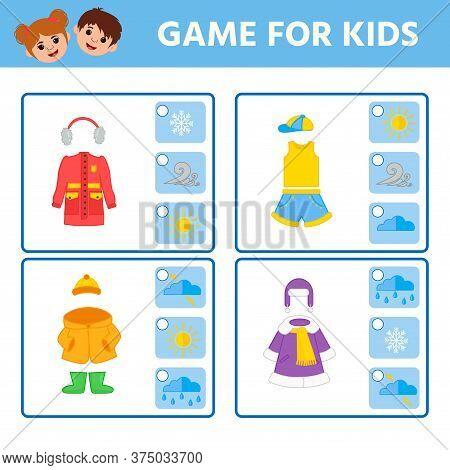 Educational Worksheet For Children. Game For Kids. Find Matching Item. Weather. Activity Worksheet F