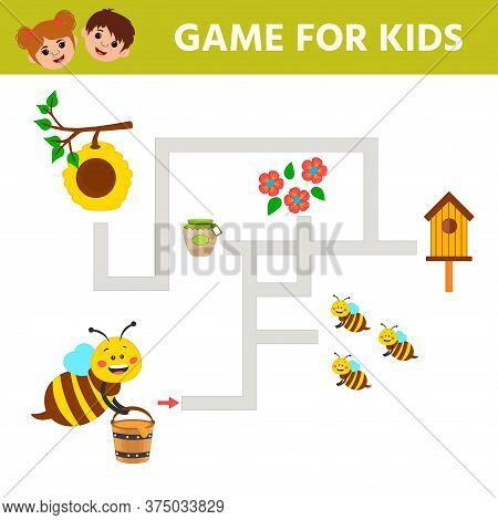 Educational Worksheet For Children. Game For Kids. Help The Bee Carry Honey To The Hive. Activity Wo