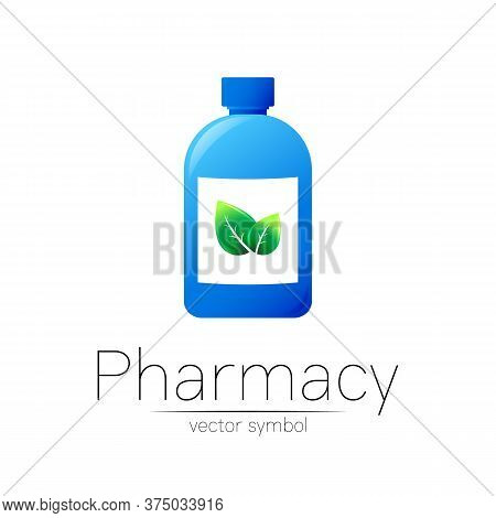 Pharmacy Vector Symbol With Blue Bottle And Green Leaf For Pharmacist, Pharma Store, Doctor And Medi