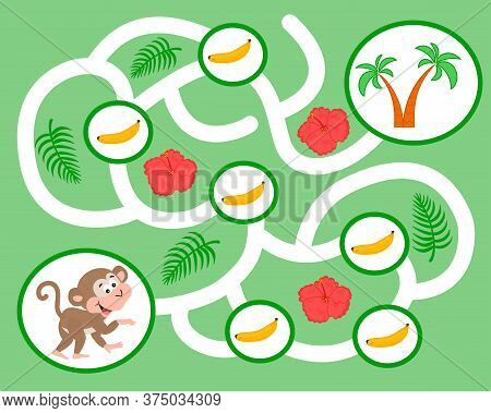 Vector Maze Game For Preschool Children. Learn Count. Help The Monkey Pick Bananas. Logic Puzzle Gam