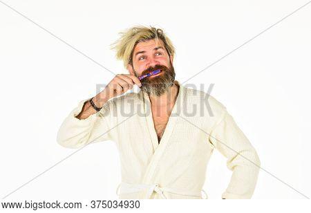 Morning Vibes. Man In Underwear. Hygiene. Man In Terry Bathrobe Brush Teeth In Bathroom. Mature Man