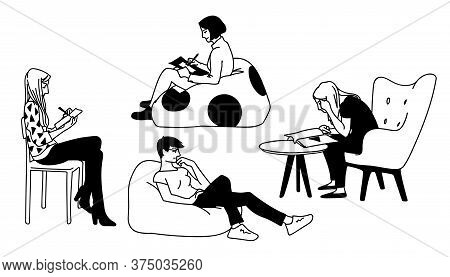 Set Of Women Sitting In Different Poses. Concept. Monochrome Vector Illustration Of Women Doing Vari