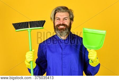 Clean Up. Bearded Man Cleaning With Mop. Janitor In Gloves. Husband Cleaning House. Housework And Do