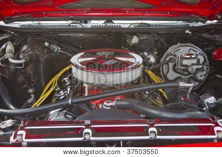 Red Chevy Chevelle Ss Engine