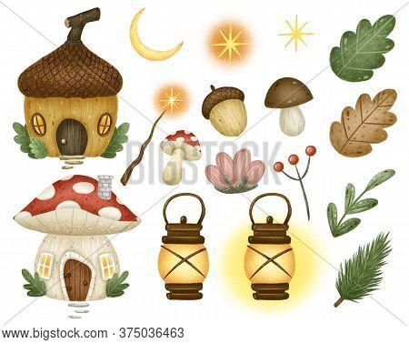 Cute Cartoon Forest Magic Fairy Tale Set On A White Background. Mushroom House, Acorn House, Magic W