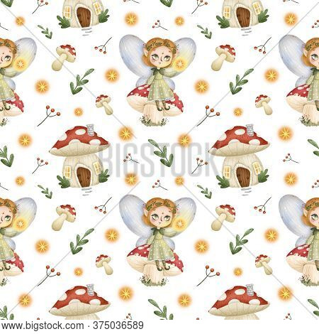 Cute Cartoon Little Forest Fairies Seamless Pattern. Fairy Tale Girl Elf Sitting On A Mushroom, Fly