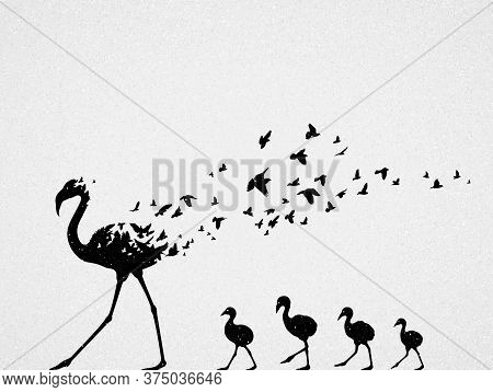 Flamingo Mom And Children Silhouettes, Flock Of Flying Birds. Endangered Animal Family. Life And Dea