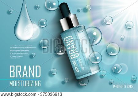 Cosmetic Essence Contained In A Droplet Bottle Template For Design Ads Poster, Presentation, Banner.