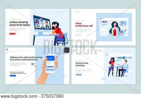 Web Page Design Templates Of Video Calling App, Online Communication, Video Conferencing. Vector Ill