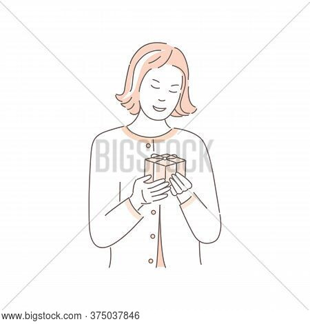 Surprised Female Character With Birthday Or Christmas Present, Isolated On White Background. Cute Wo
