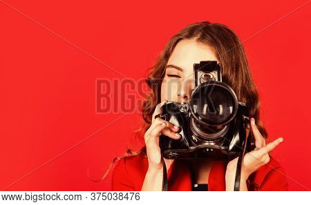 Little Reporter Make Photo. Vintage Camera. Girl With Retro Camera. Capture Childhood Memories. Slr