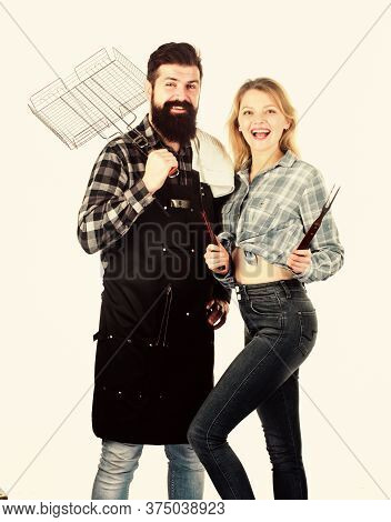 Man Bearded Hipster And Girl Ready For Barbecue Party. Culinary Concept. Family Weekend. Couple In L