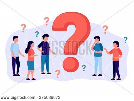 Frequently Asked Questions, Group People Around Question Marks. Abstract Man And Woman Ask, Need Hel