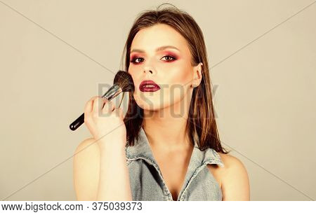 Beauty Hairdresser Salon. Lipstick And Eyeshadow. Fashion Makeup Visage. Sexy Woman With Professiona
