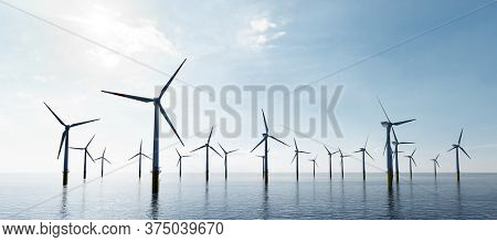 Offshore wind turbines farm on the ocean. Sustainable energy production, clean power. 3D illustration