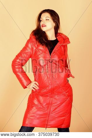 Looking Trendy. Girl In Puffed Coat. Faux Fur Fashion. Beauty In Winter Clothing. Cold Season Shoppi