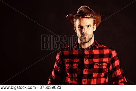 Cowboy Couture. Vintage Style Man. Wild West Retro Cowboy. Wild West Rodeo. Handsome Man In Hat. Man