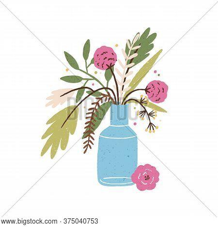 Beautiful Hand Drawn Bouquet Of Blooming Seasonal Flowers In Vase Vector Flat Illustration. Elegant