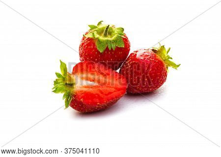 Ripe Red Berry Strawberry On A White Background