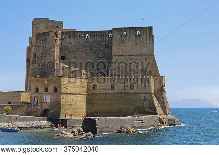 Naples, Italy - June 22, 2014: Castel Dell Ovo Fortification Landmark In Napoli, Italy.