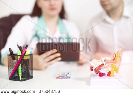Female Doctor Otolaryngologist Shows On The Tablet Information On The Structure Of The Ear, Throat A
