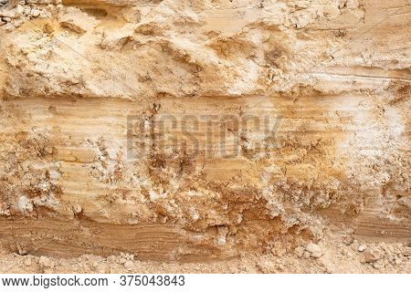 Layers Of Clay And Orange Sand Soil, Background, Geological