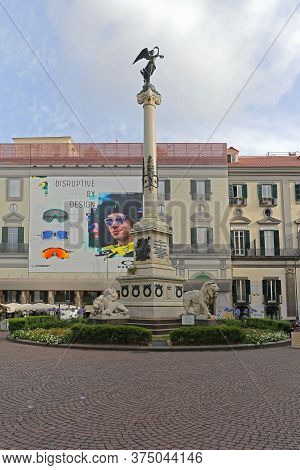 Naples, Italy - June 25, 2014: Martyrs Neapolitan Monument Column At Piazza Dei Martiri In Naples, I