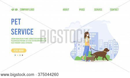 Landing Page Template Of Pet Care. Pet Care Concept. Web Page Design For Website. Dog Walking Servic