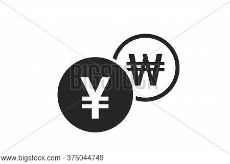 Japanese Yen To Korean Won Currency Exchange Icon. Money Exchange And Banking Transfer Symbol