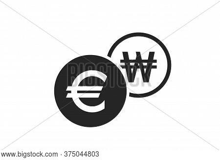 Euro To Korean Won Currency Exchange Icon. Money Exchange And Banking Transfer Symbol