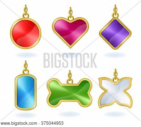 Set Of Colored Metal Tags With Golden Chain, Isolated On White Background. Vector Realistic Template